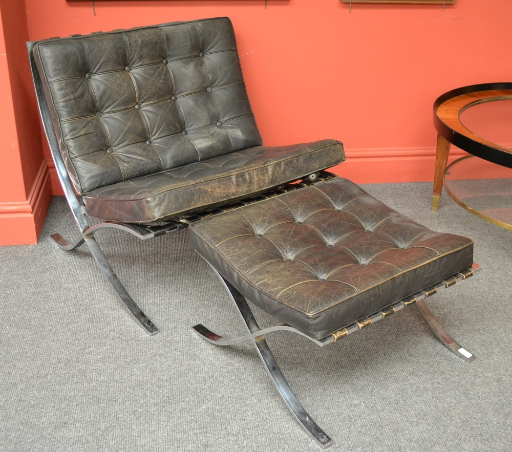 Lot 801   A Chromed Steel And Black Leather Barcelona Chair And Ottoman,  After A