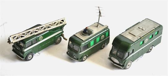 Dinky BBC Outside Broadcast Vehicles Roving Eye, Extending mast vehicle and  Mobile control room