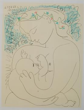 After Pablo Picasso Maternite Lithograph printed in colours ...