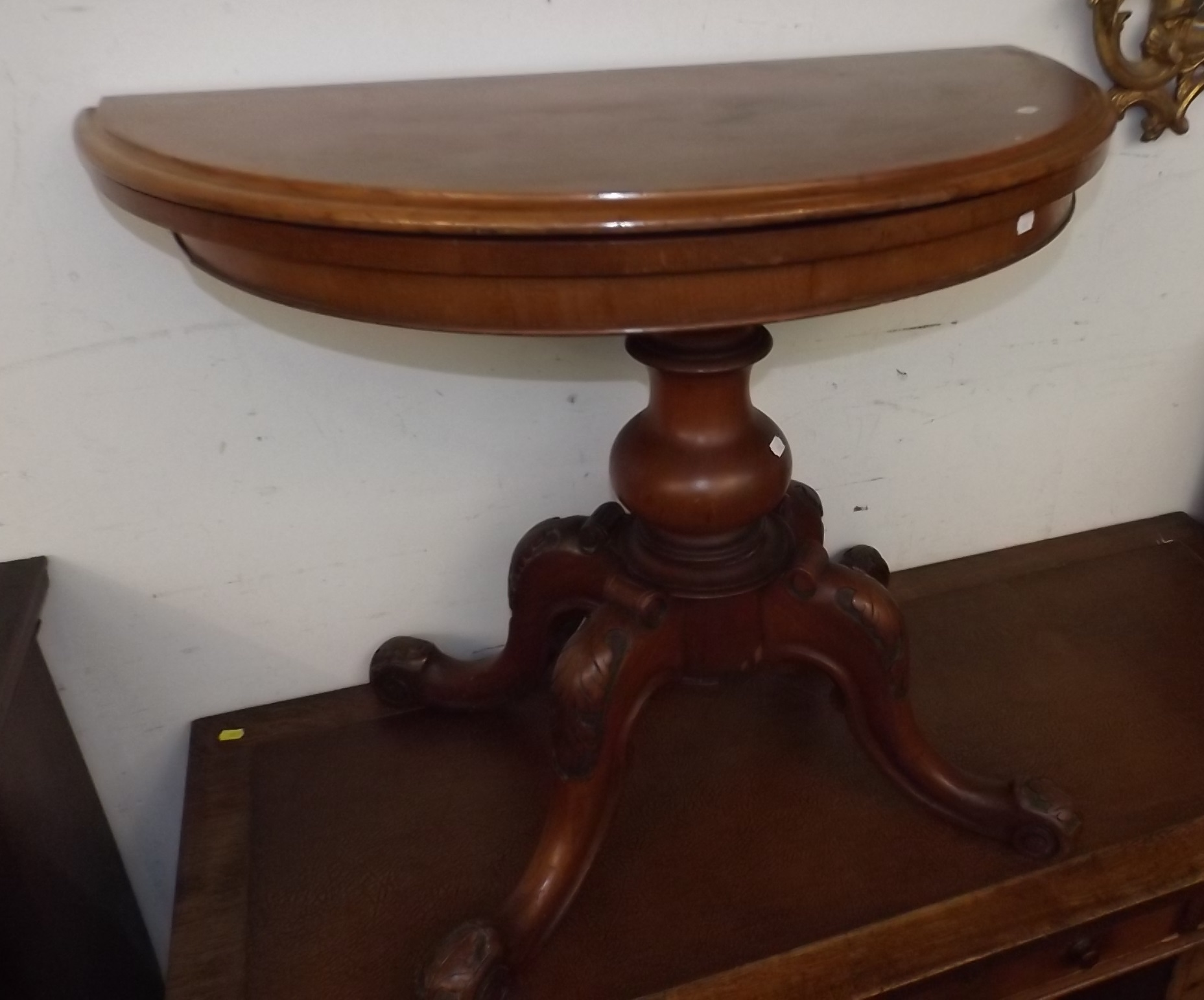 Fold In Half Round Table A Victorian Walnut Half Round Fold And Turn Top Card Table On