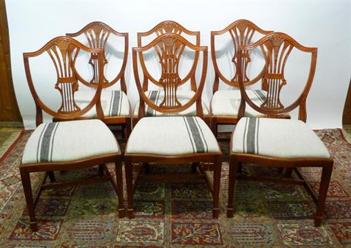 A Set of Six Shield Back Dining Chairs, with wheatsheaf pierced splat backs  above drop-in seats, - A Set Of Six Shield Back Dining Chairs, With Wheatsheaf Pierced