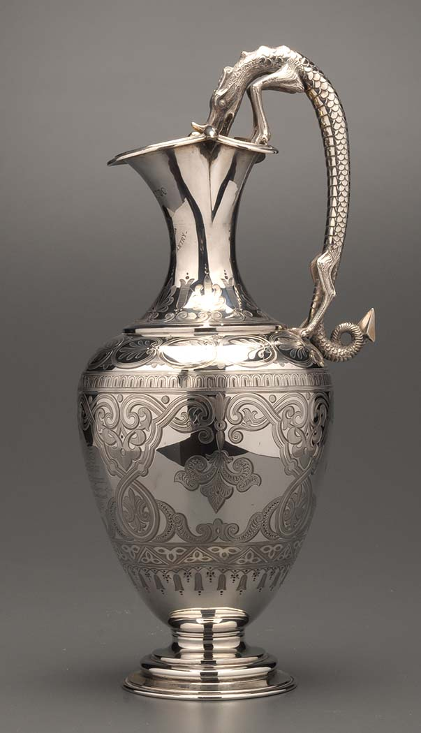 Lot 554 - A Victorian claret jug, by Joseph, Albert, Horace & Ethelbert Savory, London 1883, profusely