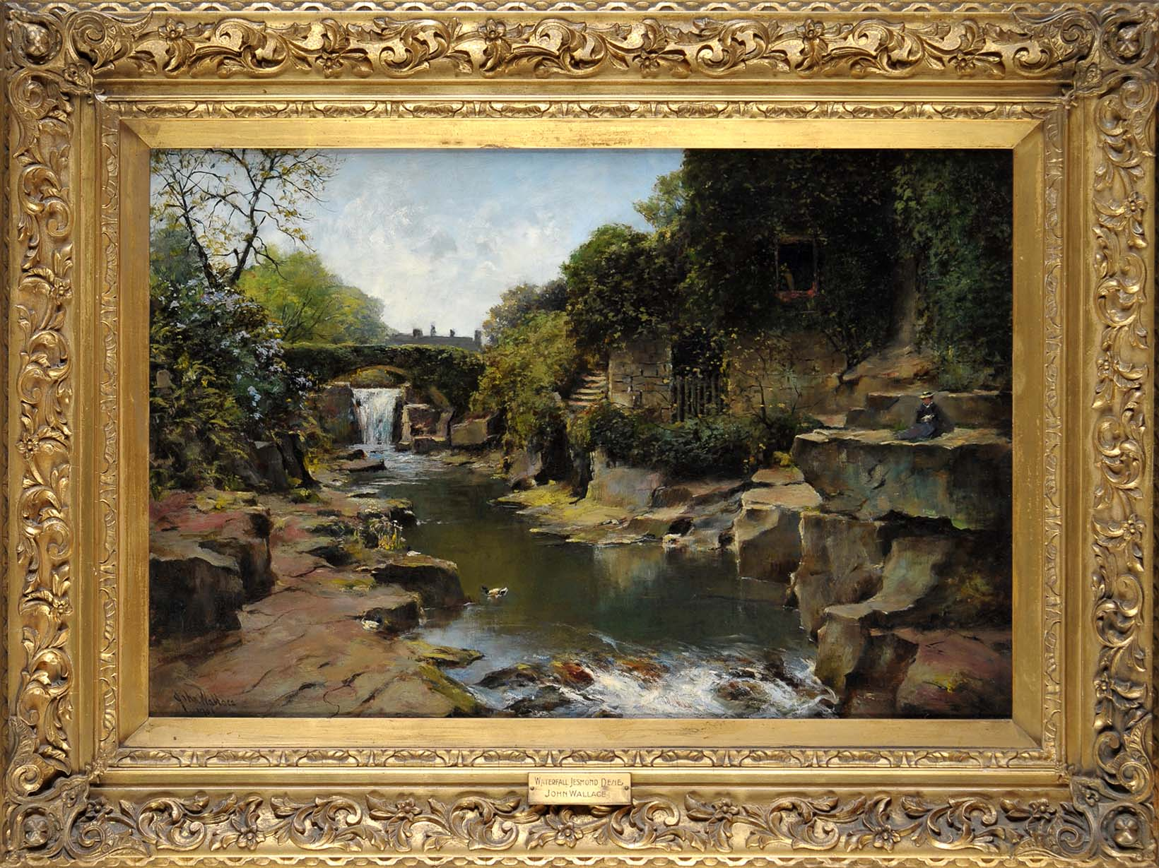 Lot 164 - John Wallace (1841-1905) WATERFALL JESMOND DENE signed and dated 1901 oil on canvas 49.5 x 75cms; 19