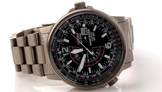 A Citizen Eco Drive Nighthawk Titanium Wr200 Wristwatch With Arabic