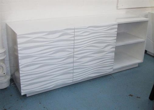 SIDEBOARD \'WAVE\', in white gloss with shelves and cupboards below ...