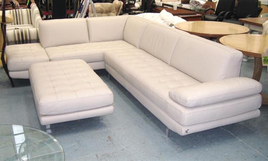 Corner Sofa Cream Leather With Chrome Legs By Calia Italia And
