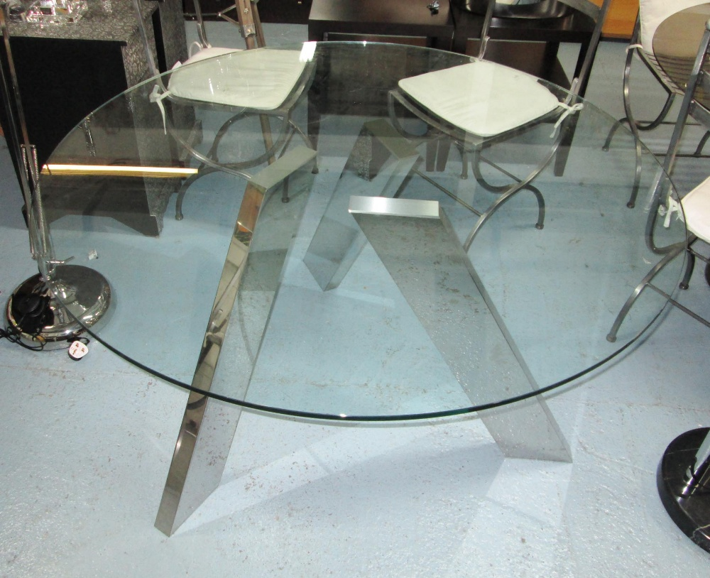 DINING TABLE, from Andrew Martin, round glass top on polished chrome ...