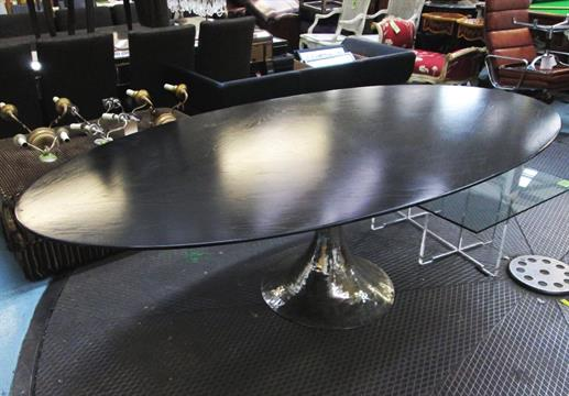 JULIAN CHICHESTER DINING TABLE, Dakota, Having An Oblong Ebonised Oak Top  Raised On A Polished Ni