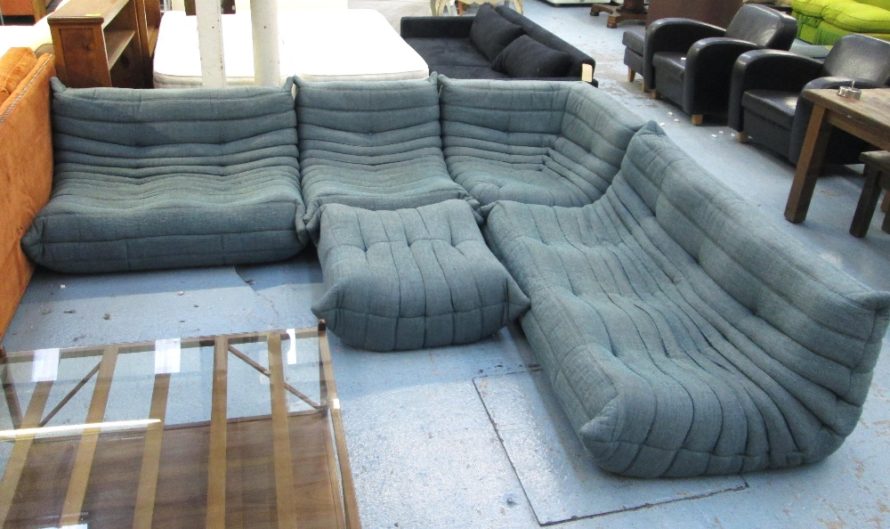 ligne roset corner togo sofa in five sections blue fabric some wear new 6 500 265cm x 310cm. Black Bedroom Furniture Sets. Home Design Ideas