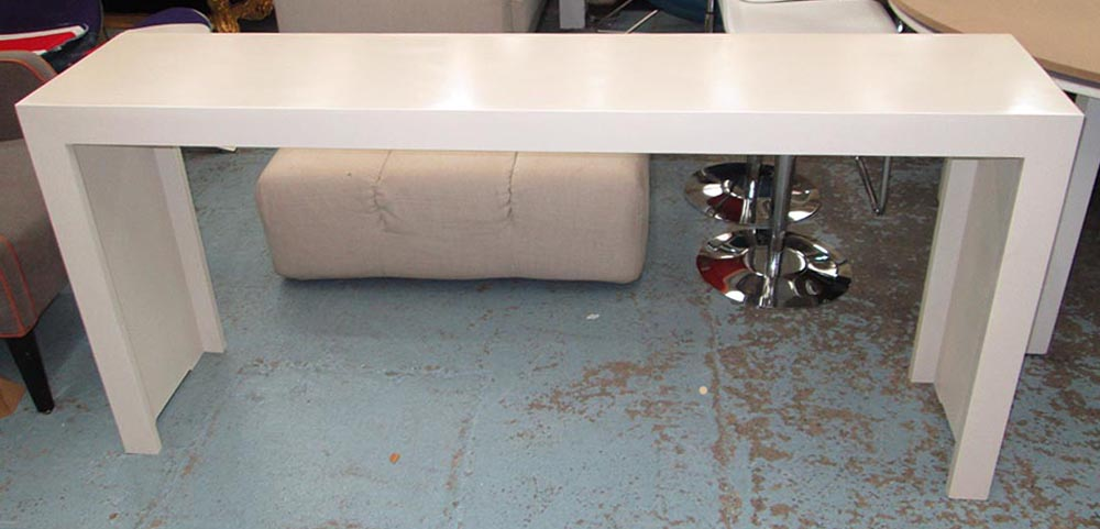 Lot 42   CONSOLE TABLE, Cream, 180cm X 40cm X 84cm H.