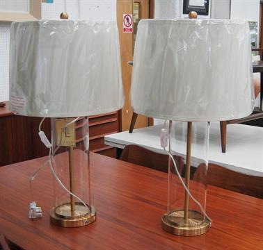 a536922e0137 RALPH LAUREN TABLE LAMPS, a pair, in brass with glass cylinder and shades,  69cm H. (2)