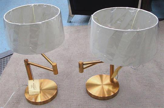 RALPH LAUREN TABLE LAMPS, A Pair, In Brass, Swing Arm With Shades, 50cm H.  (2)