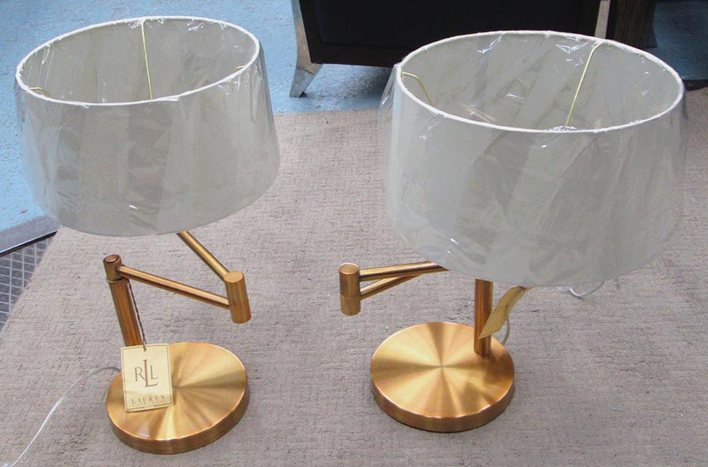 Ralph lauren table lamps a pair in brass swing arm with shades lot 13 ralph lauren table lamps a pair in brass swing arm aloadofball Images