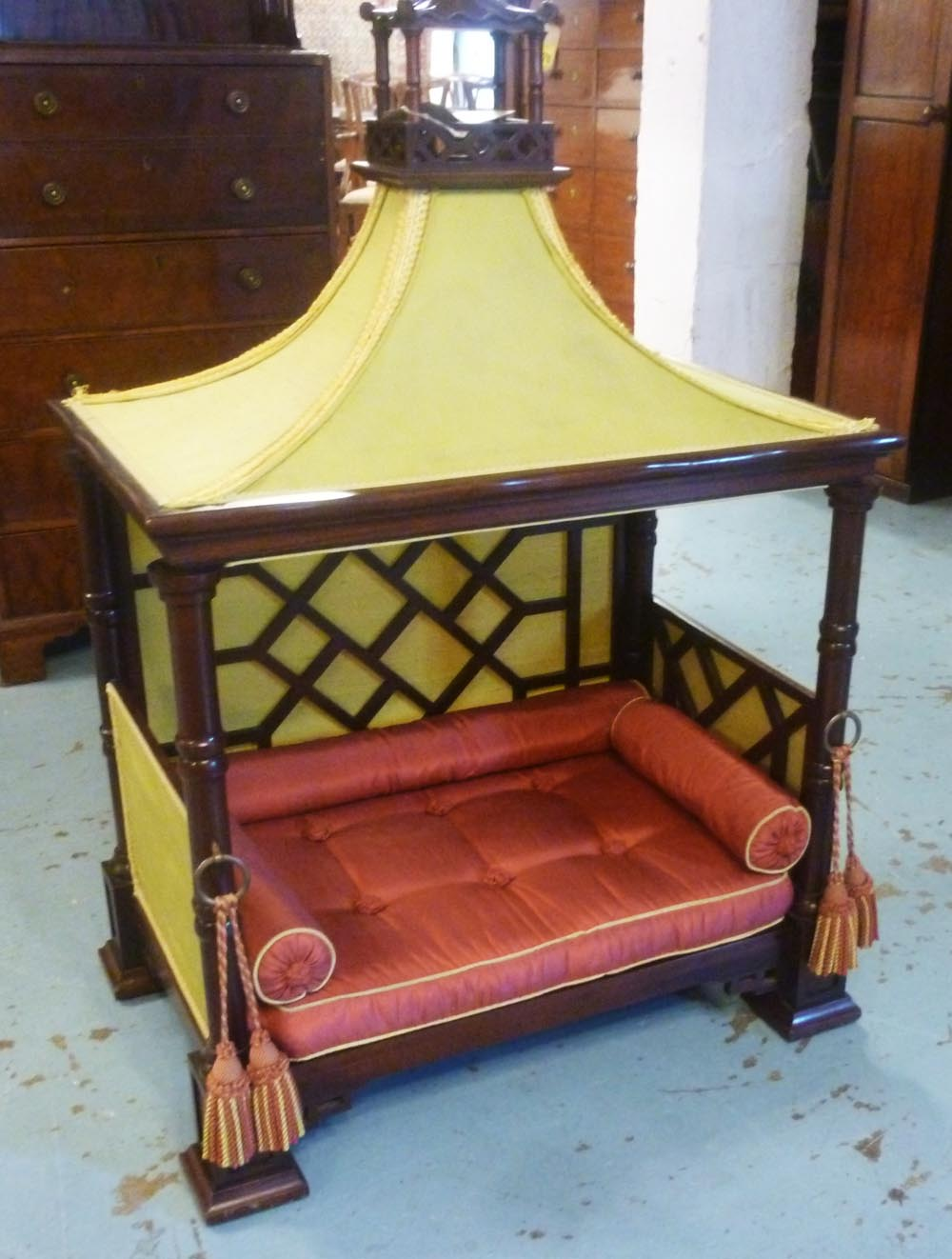 Picture of: Dog Bed Of Four Poster Pagoda Form With Yellow And Red Satin Bedding Hardwood Construction 77c