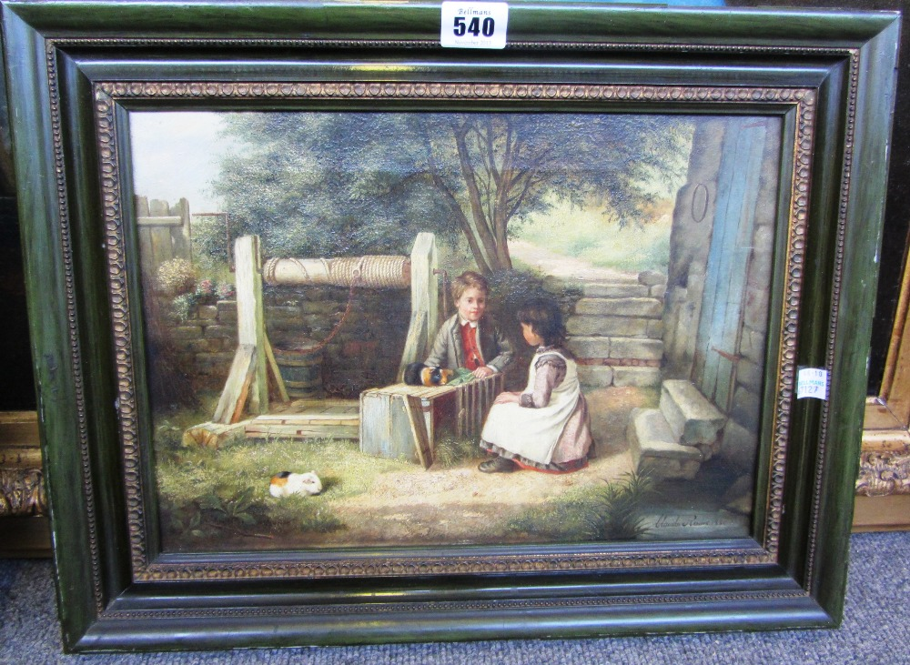 Lot 540 - Claude Reeves (19th century), Two children playing with guinea pigs by a well, oil on canvas, signed