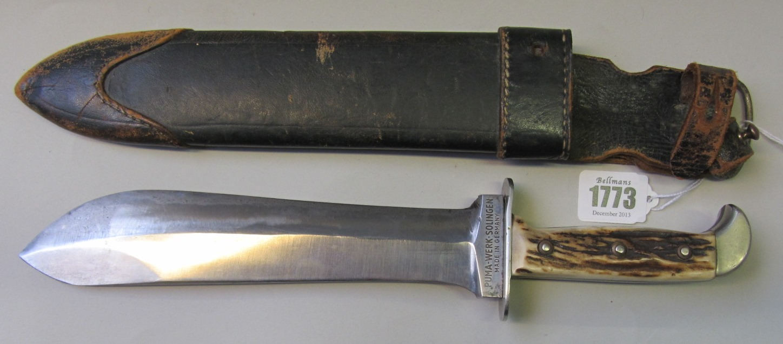 A German Hunting Knife The Single Edged Steel Blade 21