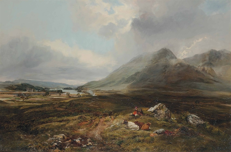 Lot 55 - Alexander Fraser the Younger (1828-1899)  A picnic in the highlands, with Loch Awe beyond  signed