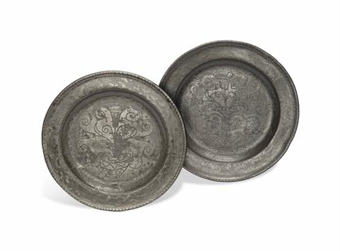 TWO WRIGGLE-WORK PEWTER PLATES BY JAMES HITCHMAN OF LONDON CIRCA 1715 Each decorated with a vase  sc 1 st  The Saleroom & TWO WRIGGLE-WORK PEWTER PLATES BY JAMES HITCHMAN OF LONDON CIRCA ...