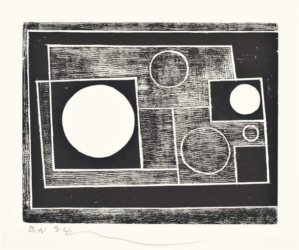 Lot 136 - Ben  Nicholson (1894-1982) Five Circles (Lewison 14) woodcut, 1934, on wove paper, signed with