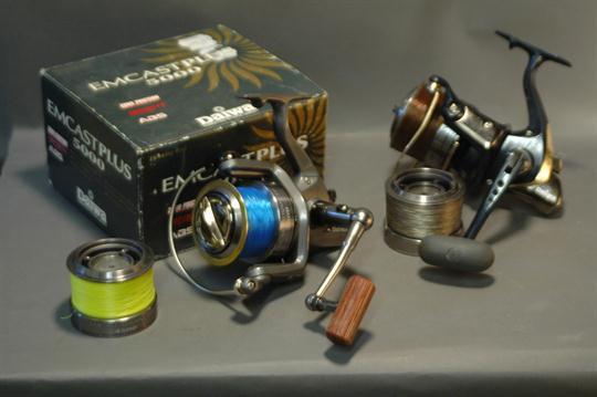 Two fixed spool reels, Daiwa Emcast Advanced 4500, Daiwa