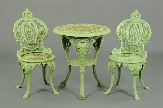 Auction date & A Victorian cast iron Britannia style garden table complete with a ...