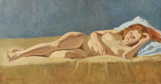 Philip MacLeod Coupe Oil Painting On Board Nude Female Figure Reclining 155 Ins X 29 Fr