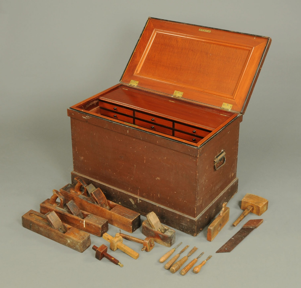 A Victorian cabinet makers tool chest, with well fitted interior ...