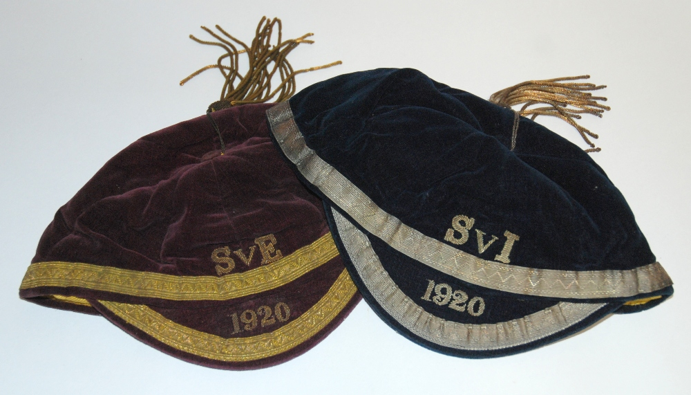 Lot 188A - Two 1920 Scotland amateur International caps comprising: V. England; and v. Ireland  Both caps
