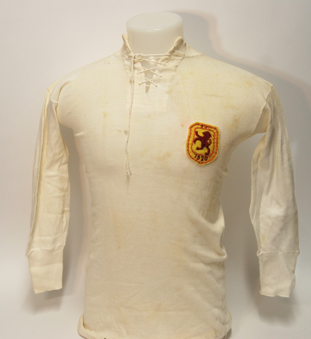 Lot 200 - A white Scotland v. Ireland International shirt with lace-up collar and embroidered cloth badge,