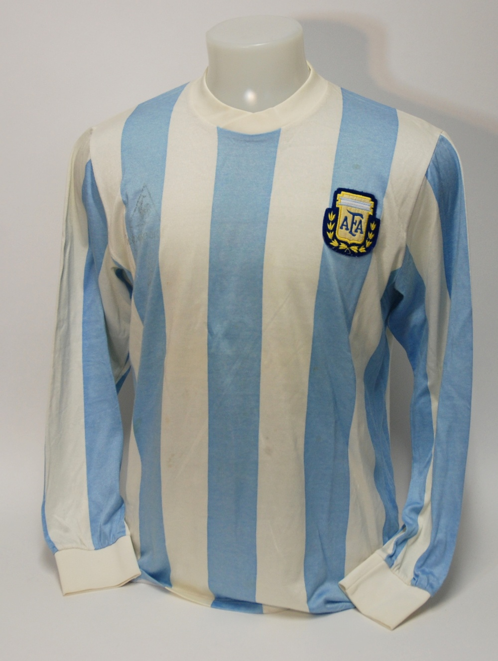 Lot 211A - A blue and white Argentina v. USSR International shirt No.10, with crew-neck collar and