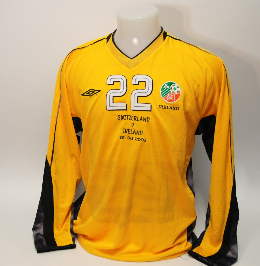 Lot 212 - A yellow Republic of Ireland v. Switzerland goalkeepers shirt No.22, with v-neck collar and