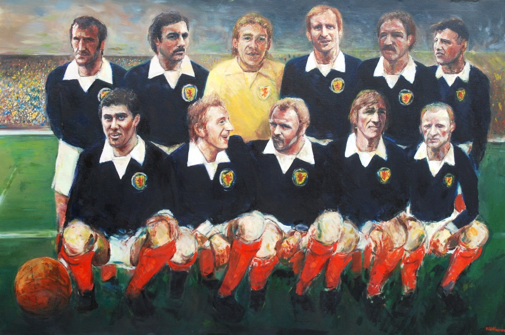 Lot 224 - Hampden Heroes 2000: A large oil painting of the Greatest Ever Scotland Team the image depicting the