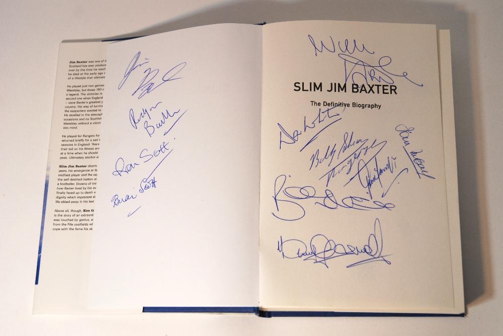 Lot 226 - Slim Jim Baxter, The Definitive Biography by Ken Gallacher. the title page bearing eleven autographs