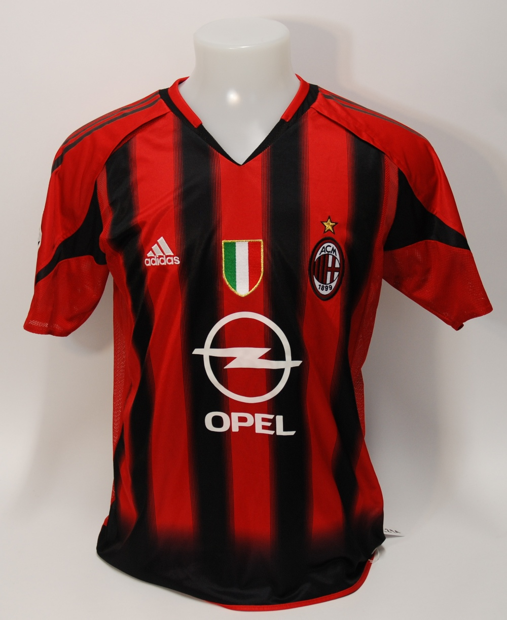 Lot 229A - A red and black AC Milan short-sleeved shirt No.8, v-neck collar and embroidered cloth badge,