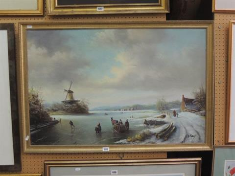 An oil painting on canvas of an 18th century style Dutch winter