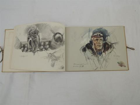 A German Haut Liska World War II military sketch book with printed