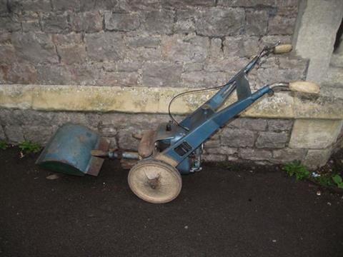 A vintage Land Master Garden Master 80 petrol driven rotavator