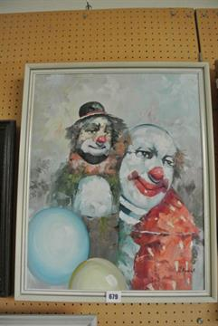 An oil painting on canvas, study of two clowns with balloons, signed