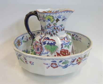 A Masons Ironstone Toilet Jug and Wash Bowl, the jug with serpent handle