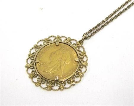 A queen victoria gold sovereign 1899 later mounted as a pendant a queen victoria gold sovereign 1899 later mounted as a pendant in a 9ct gold openwork frame an aloadofball Images