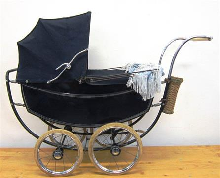 A 1950S MARMET DOLLS PRAM The Coach Lined Navy Blue Metal Body With Matching Folding Hood And