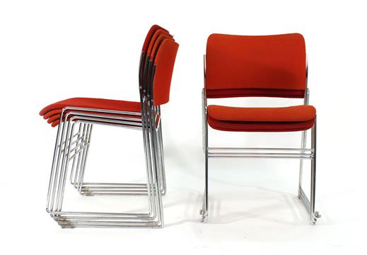 David Rowland For Howe, A Set Of Seven U002740/4u0027 Stacking Chairs In Red Fabric  Upholstery CONDITIO