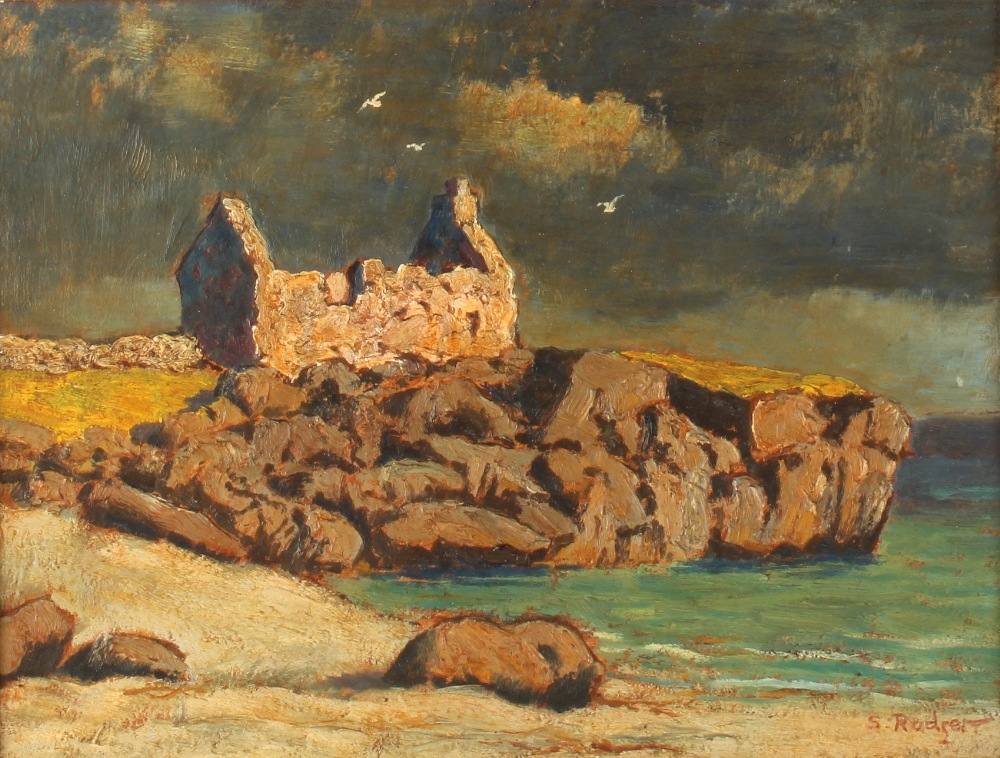 Lot 395 - Sidney Bertram Robertson Rodger (b.1916) - COTTAGE RUINS ON HEADLAND - oil on panel, 10 by 13ins. (