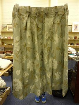 Two pairs of brocade type lined curtains 190cm x 145cm drop and ...