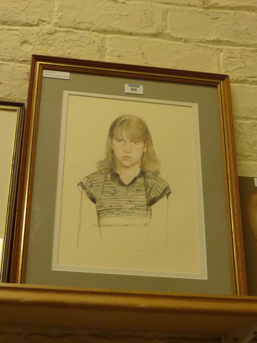 Lot 88 - Frank Lisle (1916-1986): 'Erica' - bust portrait, pencil and coloured crayon by Frank Lisle (1916-