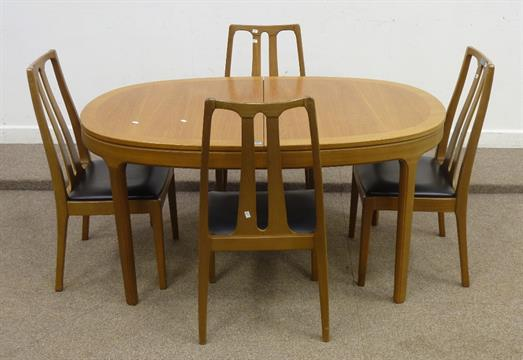 Nathan vintage/retro teak extending dining table (L152cm closed) and four chairs & Nathan vintage/retro teak extending dining table (L152cm closed) and ...