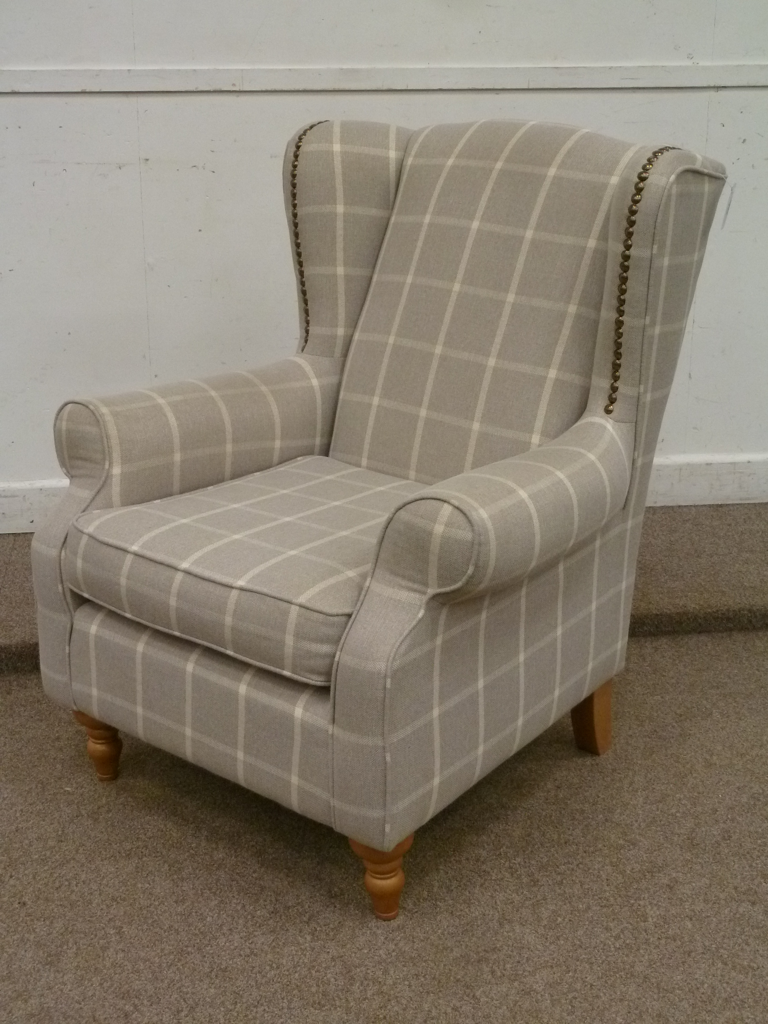Next Sherlock wingback armchair in grey and cream check cover