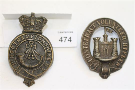TWO MILITARY BADGES  The first Pontefract Volunteer Rifles