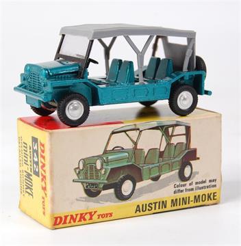 Dinky Toys 342 Austin Mini Moke metallic greenish-blue body grey canopy with one window to rea & Dinky Toys 342 Austin Mini Moke metallic greenish-blue body ...