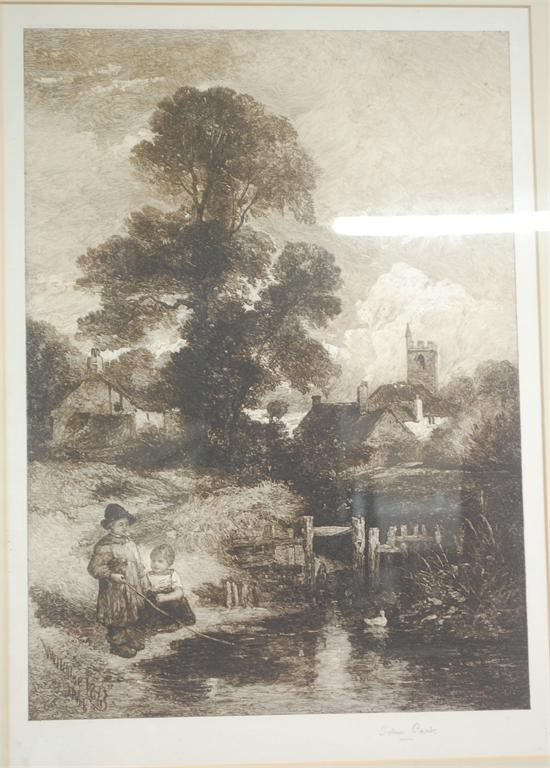 john park children fishing etching signed in pencil to the margin 46x32cm. Black Bedroom Furniture Sets. Home Design Ideas